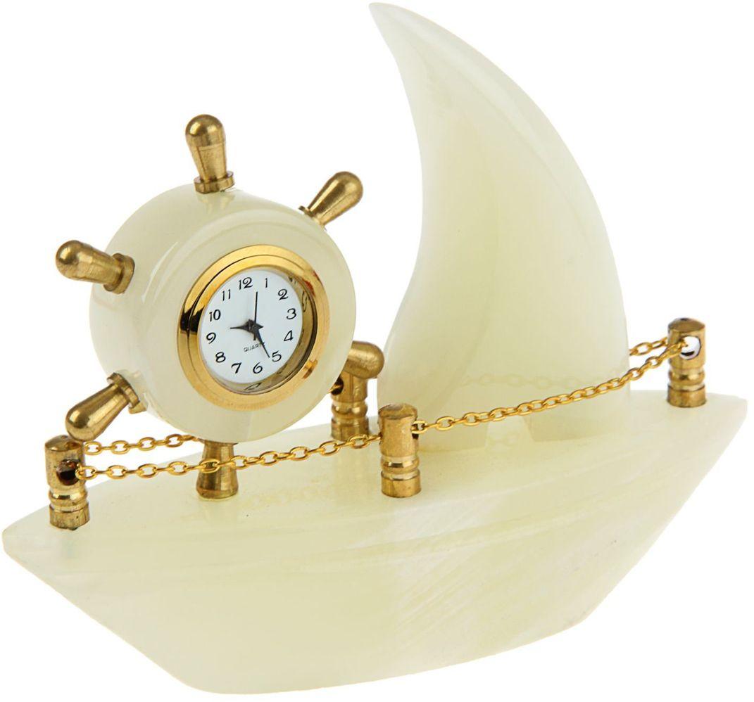 Часы Корабль 5 13х4х10,5 см оникс 244019244019Нат. камень: Оникс