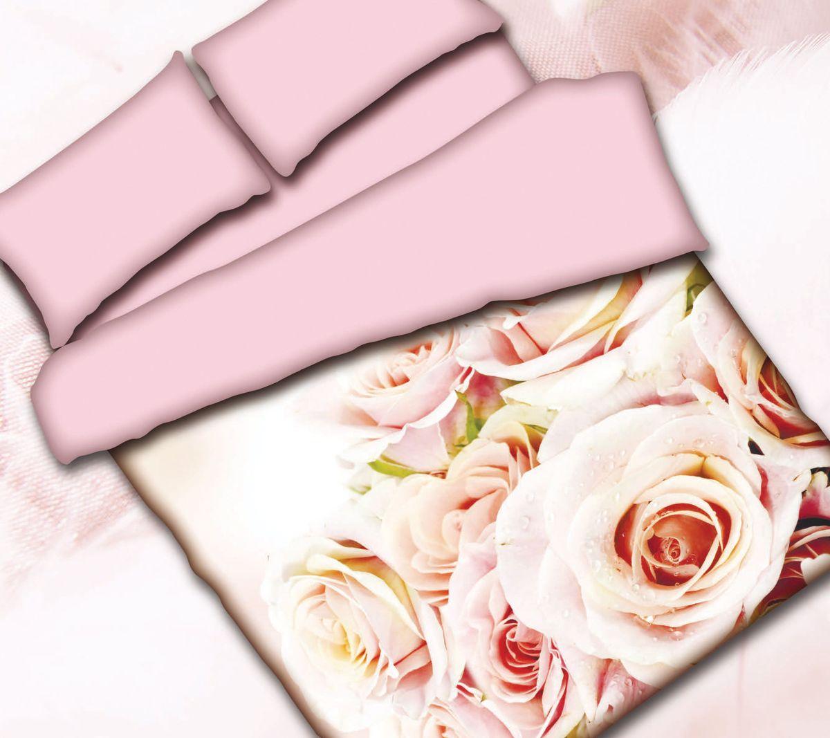 Комплект белья Коллекция Розы, 1,5-спальный, наволочки 50x70. СРП1,5/50/ОЗ/розыСРП1,5/50/ОЗ/розы
