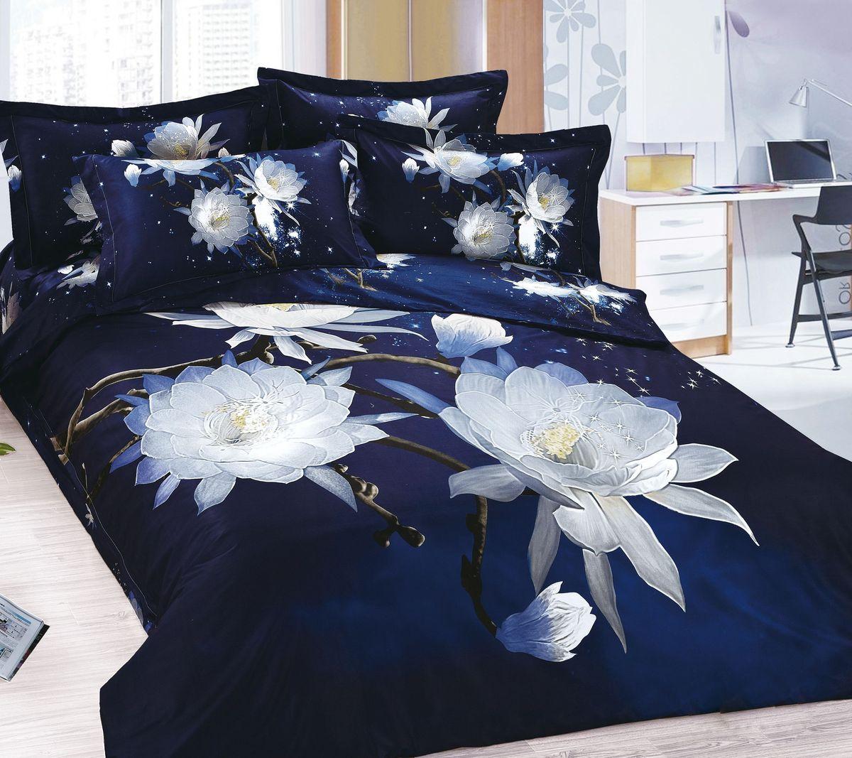 Комплект белья Коллекция Цветы на черном, 2-спальный, наволочки 50x70. СР2/50/ОЗ/цчСР2/50/ОЗ/цч