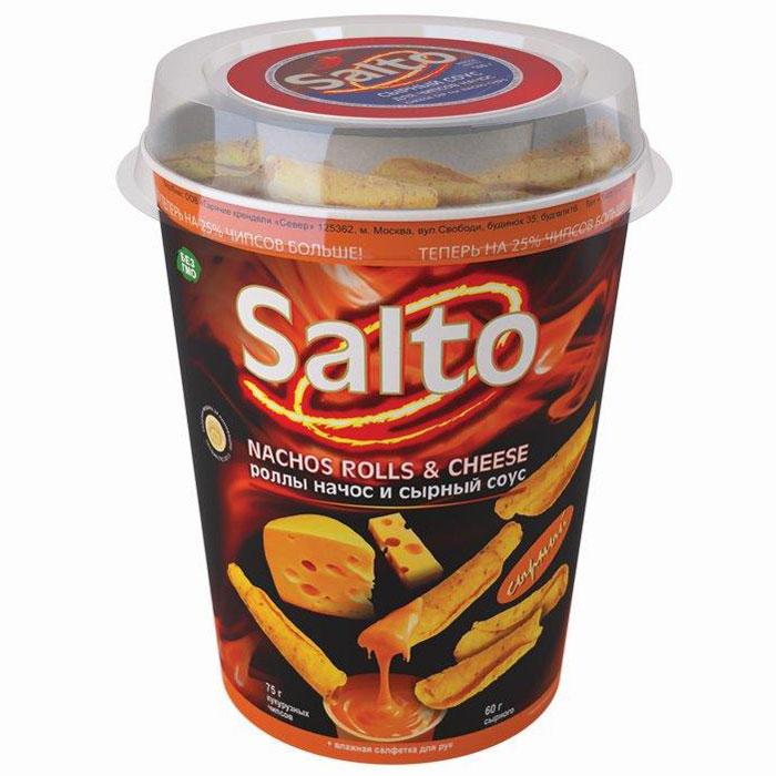 Salto Nachos Сырные роллы чипсы кукурузные натуральные, 75 г