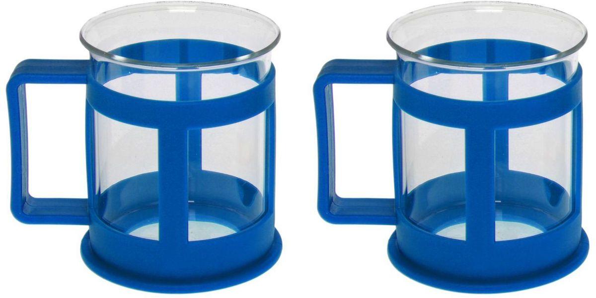 Набор кружек Доляна Классика, цвет: синий, 200 мл, 2 шт1075431Практичный набор кружек пригодится каждому человеку. Поставьте его на кухне, возьмите с собой на работу, в поход или путешествие: качественные изделия не подведут вас. Достоинства: удобный пластиковый подстаканник защищает стеклянный корпус; ручка не нагревается от горячих напитков; изделие легко мыть; необычный дизайн освежает интерьер. При необходимости стеклянная часть кружки может быть извлечена. Делайте свою жизнь комфортнее!