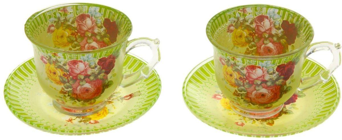 Набор чайный Доляна Карусель цветов, 4 предмета811253Чаепитие с родными и близкими — пожалуй, одно из лучших форм времяпрепровождения. Сделать его ещё приятнее можно с помощью красивой посуды. Чайный набор «Карусель цветов» — это изысканные стеклянные чашки и блюдца, которые буквально ласкают взор. Долго можно любоваться нежными, умиротворяющими рисунками... Из таких чашек и напиток кажется вкуснее, и даже конфета, лежащая на блюдце, становится будто бы чуть слаще! Кроме того, стеклянная посуда обладает рядом практических достоинств: термостойкостью, экологичностью и прочностью. Именно этим объясняются преимущества предметов набора: возможность обработки в СВЧ-печи, пригодность к мойке в посудомоечной машине. экологическая безопасность материала. Не рекомендуется: помещать посуду на открытый огонь и в морозильную камеру, допускать падение посуды с большой высоты. В набор входят 4 предмета: чашка 220 мл — 2 шт., блюдце — 2 шт. Друзья и родные непременно оценят ваши старания по созданию уютной атмосферы. Заказывайте набор «Карусель...
