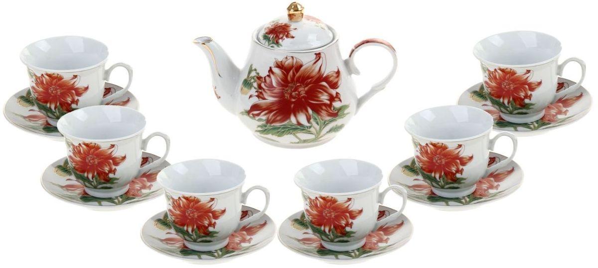 Набор чайный Доляна Ева, 13 предметов836501Какую посуду выбрать для чаепития? Конечно, традиционный напиток по необходимости можно пить и из помятой алюминиевой кружки. Но все-таки большинство хозяек стараются приобрести изящные и оригинальные модели для эстетического наслаждения неповторимым вкусом и тонким ароматом хорошего чая. Кухонная керамика сочетает в себе бытовую практичность и декоративную утонченность. Нарядный комплект обязательных для чаепития атрибутов изготовлен на родине древнего напитка и привнесет в каждую трапезу особую энергетику.