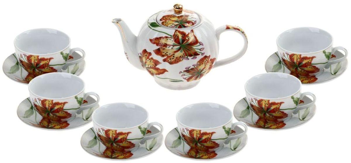 Набор чайный Доляна Лилиана, 13 предметов836534Добро пожаловать в мир изобилия чайной посуды! Неиссякаемый запас свежих идей и классических решений воплощен в дизайне декоративной посуды для приятного чаепития. Сервиз чайный Лилиана, 13 предметов: 6 чашек 250 мл, 6 блюдец, чайник 1 л предназначен для изящной сервировки любимого напитка в кругу членов семьи или коллег по работе. Легкие и изящные керамические изделия в обаятельном оформлении создают запоминающийся образ, который будет служить ярким украшением стола во время будничного обеда или приема гостей К тому же нарядный комплект может стать замечательным подарком ценителям чая.