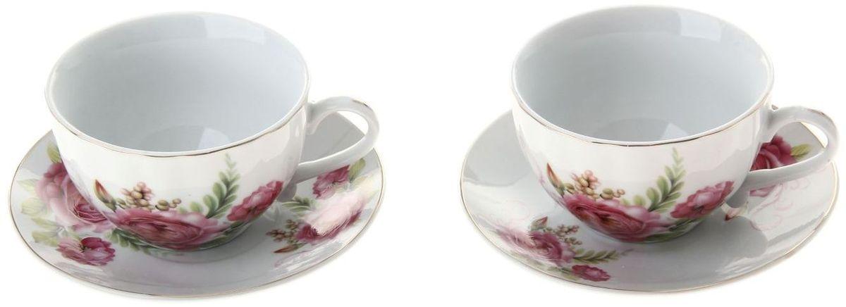 Набор чайный Доляна Эстель, 4 предмета836539Какую посуду выбрать для чаепития? Конечно, традиционный напиток по необходимости можно пить и из помятой алюминиевой кружки. Но все-таки большинство хозяек стараются приобрести изящные и оригинальные модели для эстетического наслаждения неповторимым вкусом и тонким ароматом хорошего чая. Кухонная керамика сочетает в себе бытовую практичность и декоративную утонченность. Нарядный комплект обязательных для чаепития атрибутов изготовлен на родине древнего напитка и привнесет в каждую трапезу особую энергетику.