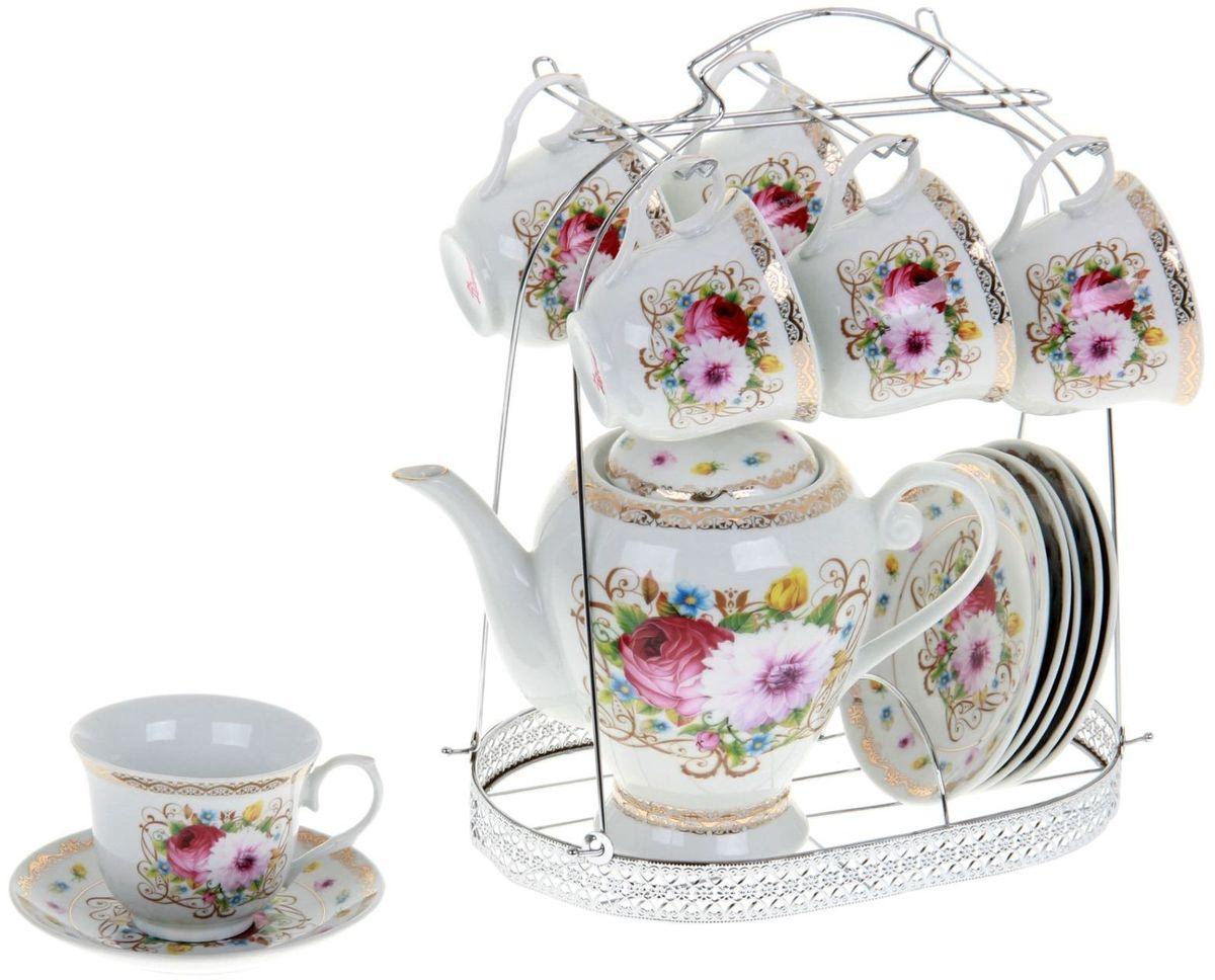Сервиз чайный Доляна Августина, 13 предметов867792Какую посуду выбрать для чаепития? Конечно, традиционный напиток по необходимости можно пить и из помятой алюминиевой кружки. Но все-таки большинство хозяек стараются приобрести изящные и оригинальные модели для эстетического наслаждения неповторимым вкусом и тонким ароматом хорошего чая. Кухонная керамика сочетает в себе бытовую практичность и декоративную утонченность. Нарядный комплект обязательных для чаепития атрибутов изготовлен на родине древнего напитка и привнесет в каждую трапезу особую энергетику.
