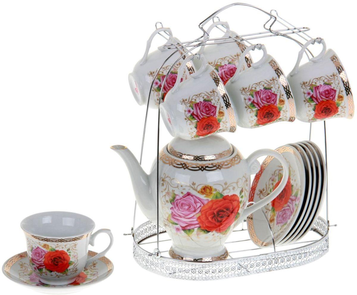 Сервиз чайный Доляна Эсмеральда, 13 предметов867793Какую посуду выбрать для чаепития? Конечно, традиционный напиток по необходимости можно пить и из помятой алюминиевой кружки. Но все-таки большинство хозяек стараются приобрести изящные и оригинальные модели для эстетического наслаждения неповторимым вкусом и тонким ароматом хорошего чая. Кухонная керамика сочетает в себе бытовую практичность и декоративную утонченность. Нарядный комплект обязательных для чаепития атрибутов изготовлен на родине древнего напитка и привнесет в каждую трапезу особую энергетику.