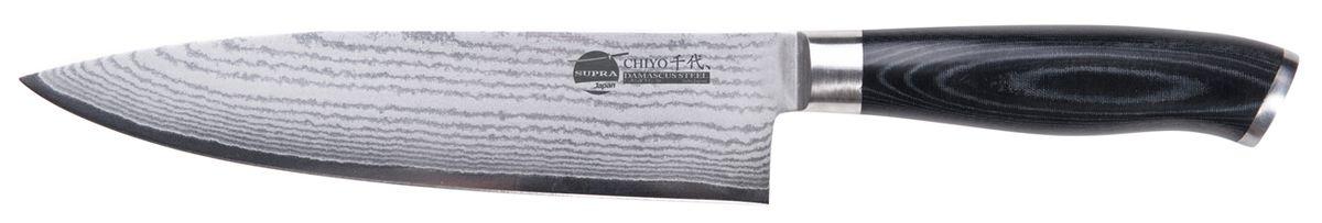 """Нож кухонный Supra Chiyo, длина лезвия 20,3 смSK-DC20CНож кухонный японский CHEF 8"""" из японской нержавеющей стали с обкладками из дамаска (67 слоев). Длина лезвия 203 мм. Материал рукояти: микарта. Заточка: двусторонняя"""