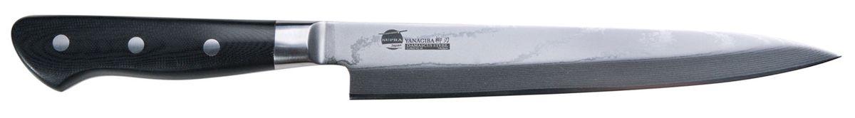 """Нож кухонный Supra Yanagiba, длина лезвия 21 смSK-DY21Нож кухонный японский для суши YANAGIBA 8.3"""" из японской нержавеющей стали с обкладками из дамаска. Длина лезвия 210 мм. Материал рукояти: Carbon Fibre на основе углеволокна. Нож YANAGIBA используется для суши, нарезки филе рыбы, мяса и других продуктов. Заточка: односторонняя"""