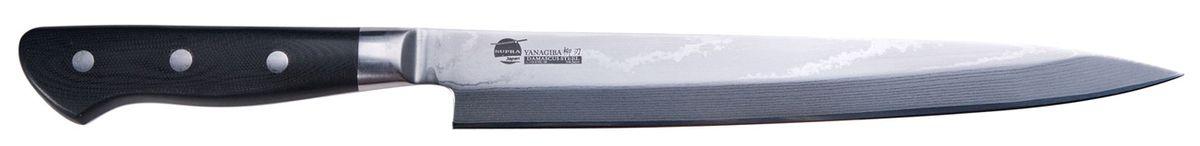 """Нож кухонный Supra Yanagiba, длина лезвия 24 смSK-DY24Нож кухонный японский для суши YANAGIBA 9.5"""" из японской нержавеющей стали с обкладками из дамаска. Длина лезвия 240 мм. Материал рукояти: Carbon Fibre на основе углеволокна. Нож YANAGIBA используется для суши, нарезки филе рыбы, мяса и других продуктов. Заточка: односторонняя"""