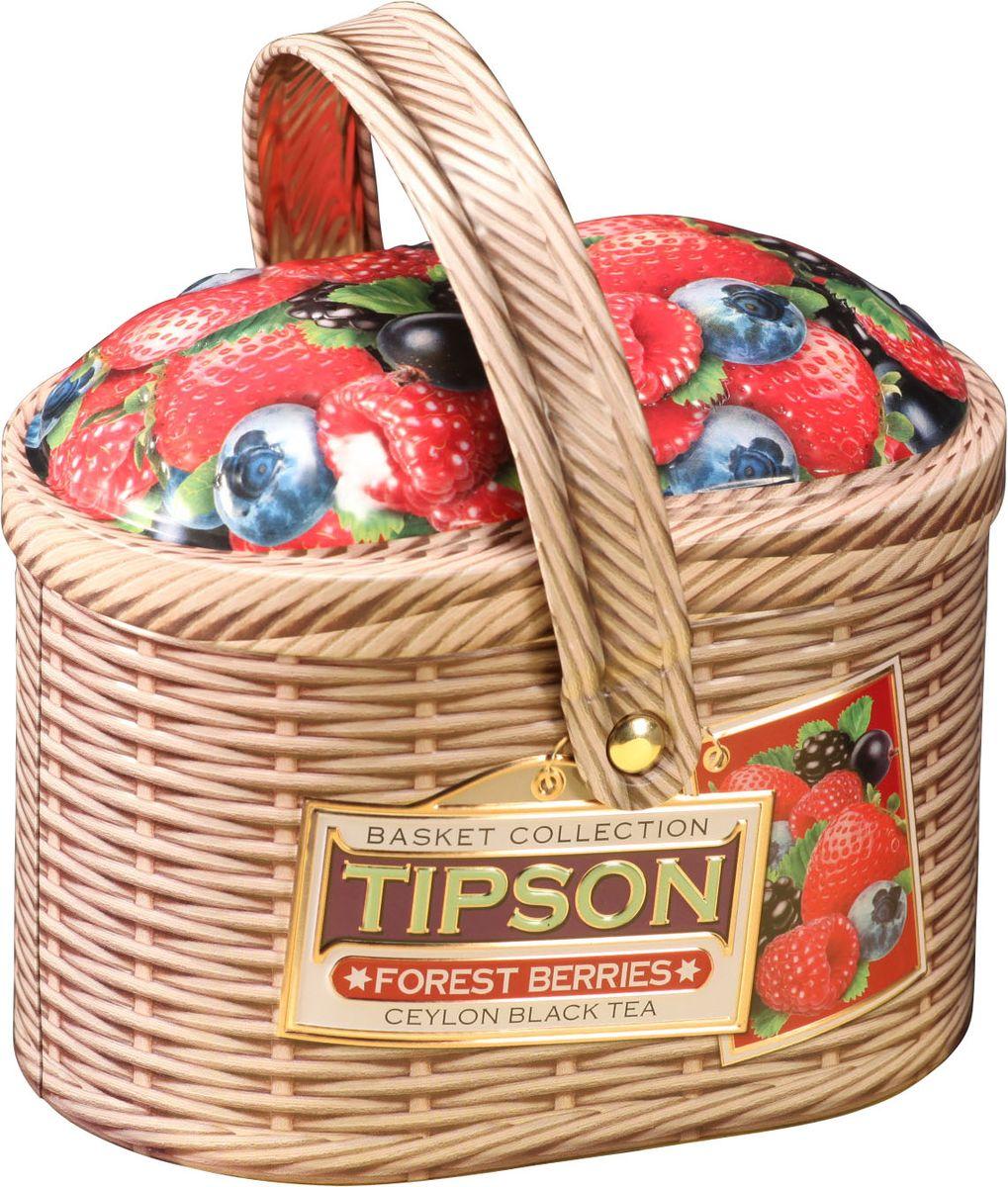 Tipson Basket-Forest Berries чай черный листовой с кусочками клубники, яблока и вишни, 80 г80127-00Чай чёрный цейлонский байховый листовой с кусочками клубники и яблока, лепестками василька и ароматами вишни и ванили.