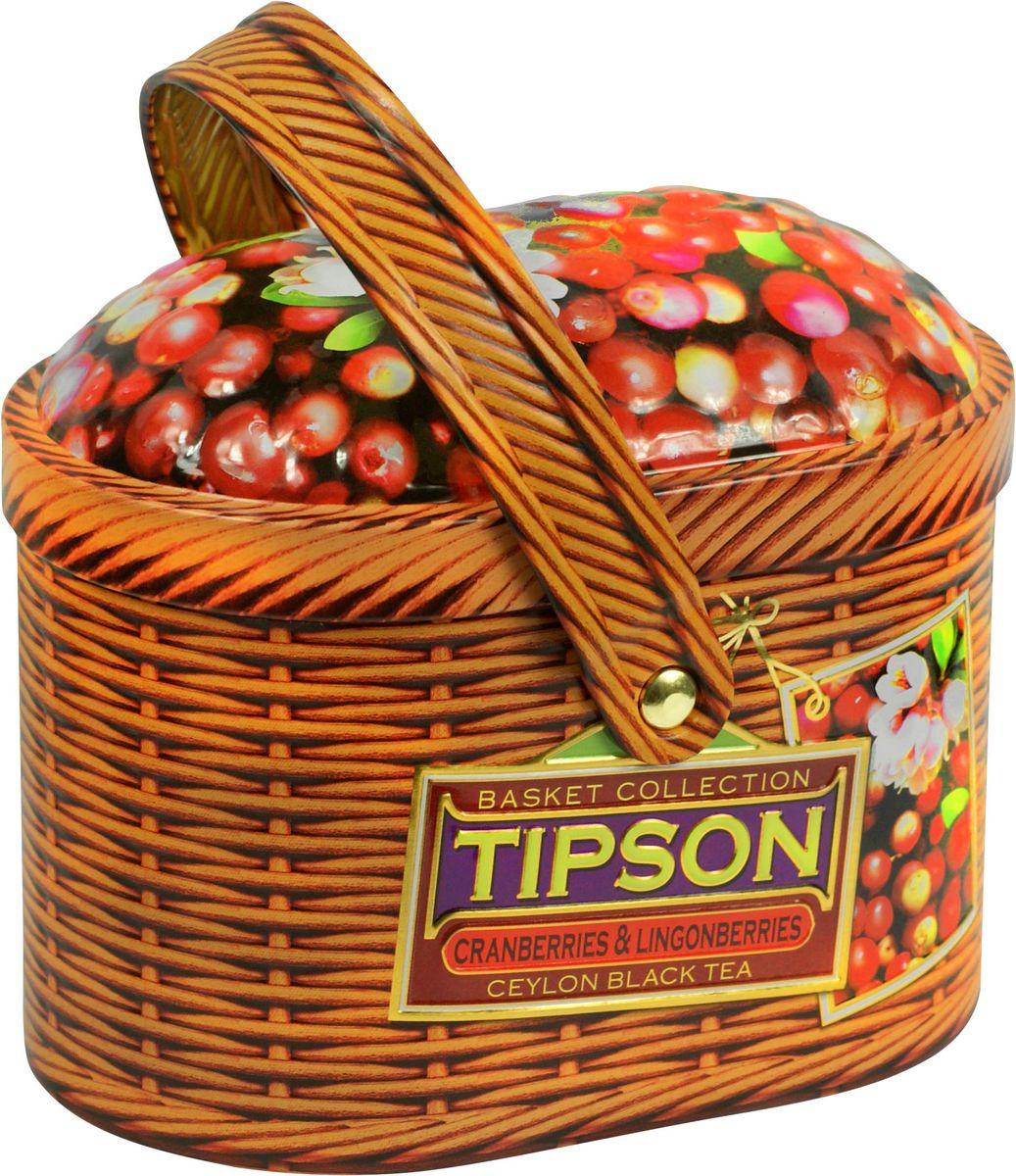 Чай чёрный цейлонский байховый листовой с ягодами клюквы и китайской дерезы и ароматами клюквы, брусники и ванили. 100 гр., железная баночка.