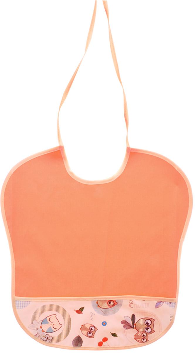 Колорит Нагрудник с карманом Совы цвет оранжевый 33 х 33 см 0068_совы/оранжевый
