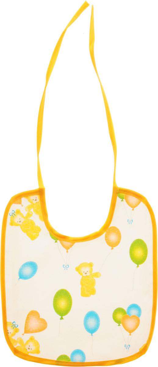 Колорит Нагрудник Мишки с шариками цвет белый желтый 20 х 22 см