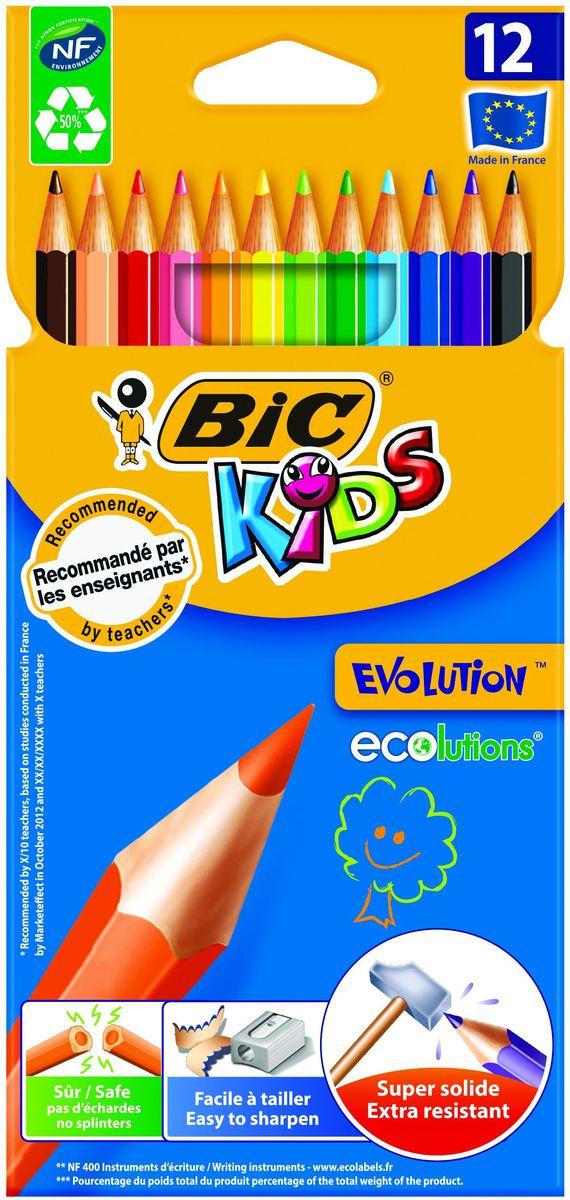 Bic Карандаши цветные Evolution 12 цветовB829029Набор из 12 суперпрочных ярких цветных карандашей, не содержащих древесины. Эти карандаши - идеальный вариант для детей, потому что они обладают очень высоким уровнем прочности, в том числе ударопрочным грифелем. Если малышу все же удастся сломать карандаш - на месте излома не образуется острых краев, это снижает вероятность травмирования. Классический шестигранный корпус. Легко затачиваются.