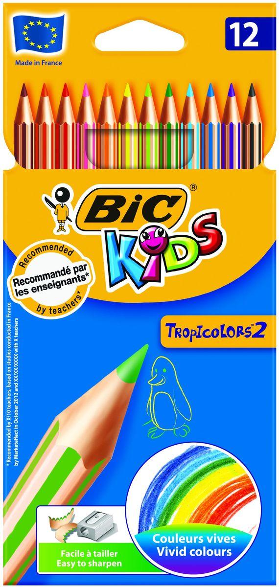 Bic Карандаши цветные Tropicolors 12 цветовB832566Набор из 12 суперпрочных цветных карандашей, не содержащих древесины. Карандаши BIC Tropicolors очень легко затачиваются и дают очень яркие живые цвета. Эти карандаши - идеальный вариант для детей, потому что они обладают очень высоким уровнем прочности, в том числе ударопрочным грифелем. Если малышу все же удастся сломать карандаш - на месте излома не образуется острых краев, это снижает вероятность травмирования. Набор цветных карандашей BIC KIDS Tropicolors – лучший выбор для детского творчества. 12 ярких цветов. Корпус карандашей имеет шестигранную прочную форму, поэтому их удобно и легко держать в руке.