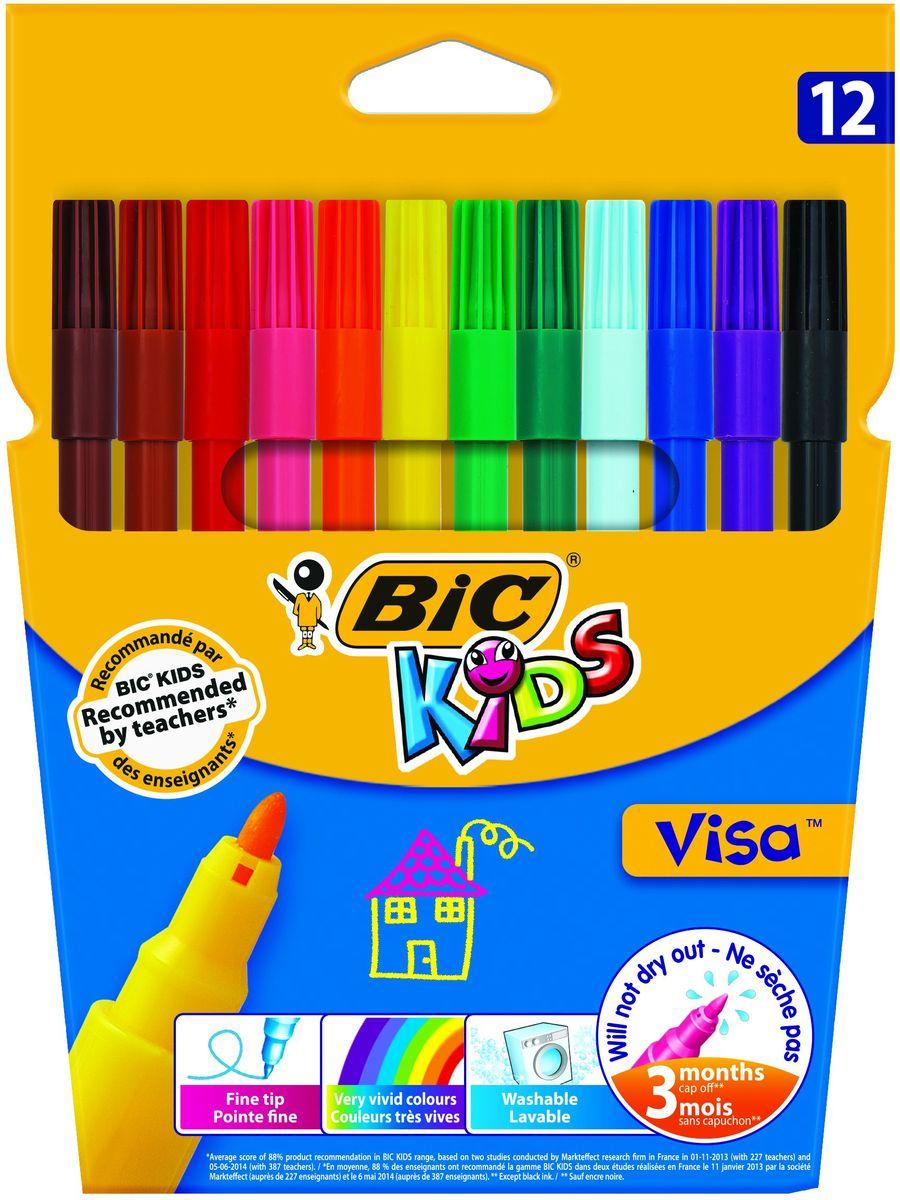 Bic Фломастеры Visa 12 цветовB888695Набор фломастеров из 12 цветов. Удивительная устойчивость к высыханию - не высыхают без колпачка до 3 месяцев! Чернила на водной основе легко смываются с большинства материалов, кожи и отстирываются с одежды. Фиксированный пишущий узел не даст стержню провалиться даже при сильном нажатии.Фломастеры BIC KIDS VISA на водной основе (без спирта) имеют тонкую линию письма и яркие цвета. Идеальны как для рисования, так и для письма. Идеальны для детей от 5 лет, прекрасно прорисовывают мелкие детали. Пишущий узел диаметром 2 мм позволяет рисовать тонкими линиями толщиной 0,9 мм.