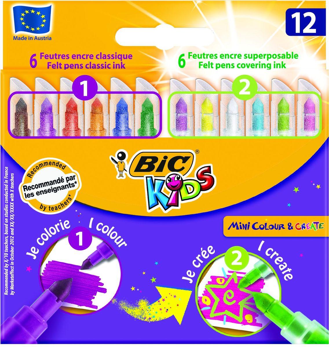 Bic Фломастеры Mini 12 цветовB892221Набор включает 6 обычных и 6 тонирующих фломастеров, с помощью которых можно создавать специальные эффекты. Чернила на водной основе легко смываются с кожи, большинства материалов и отстирываются с одежды. Фиксированный пишущий узел не даст стержню провалиться даже при сильном нажатии. Цветные фломастеры BIC KIDS Mini Colour and Create – это просто находка для маленьких любителей рисовать! Фломастеры оборудованы вентилируемым колпачком (в случае, если ребенок проглотит его, он сможет дышать). Конический пишущий узел позволяет рисовать как толстыми, так и тонкими линиями. Идеальны для ежедневного использования детьми от 5 лет.