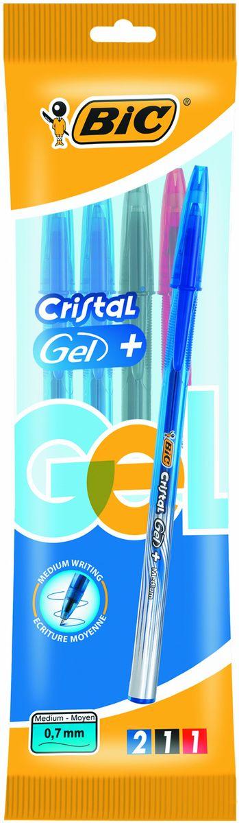 Bic Набор гелевых ручек Cristal Gel 4 штB919229Набор Гелевых Ручек Cristal Gel + с тремя цветами: синий, черный и красный - это удобный вариант для любителей тонкого письма гелевыми ручками. Яркие цвета, видимый уровень чернил. Гелевая ручка с тонким пишущим узлом. Пишущий узел диаметром 0,5 мм. позволяет чертить красивые тонкие линии. Мягкое письмо. Дизайн с эффектом металлик, а также удобная область грипа для более комфортного письма. Подходит для официальных бланков ЕГЭ, ГИА и т.д.