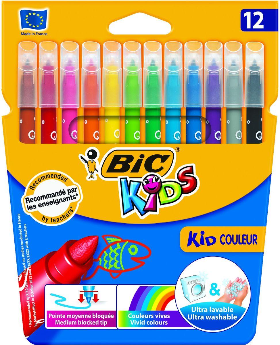 Bic Фломастеры Kid Couleur смываемые 12 цветовB920293Набор из 12 фломастеров. Чернила на водной основе легко смываются с большинства материалов и отстирываются с одежды. Фиксированный пишущий узел не даст стержню провалиться даже при сильном детском нажатии. Идеально подходят для раскрашивания и рисования. 12 ярких живых цвета.