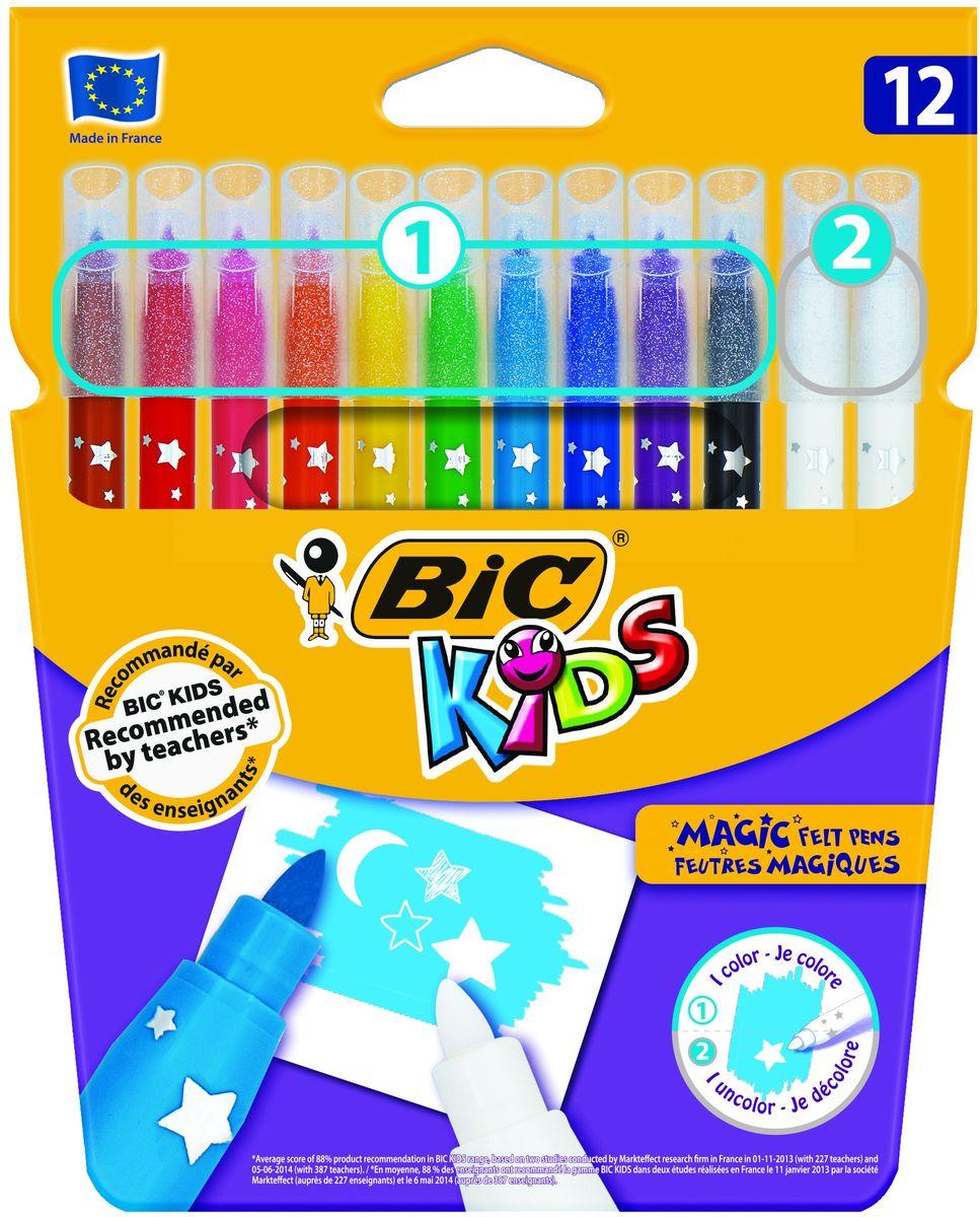 Bic Фломастеры Magic смываемые 12 цветовB9202962Набор из 12 фломастеров, в который вошли 10 цветных фломастеров, а так же 2 обсецвечивающих, предназначенных для исправления ошибок. Чернила на водной основе легко смываются с кожи, большинства материалов и отстирываются с одежды.Фломастеры BIC KIDS MAGIC на водной основе (без спирта) имеют специальные чернила, которые позволяют создавать специальные эффекты. Быстро смывается с рук и одежды. Линии средней толщины – 0.8 мм. Блокированный пишущий узел позволяет грифелю не вдавливаться даже при сильном детском нажатии. Вентилируемый колпачок. Идеальны для ежедневного использования детьми от 5 лет.