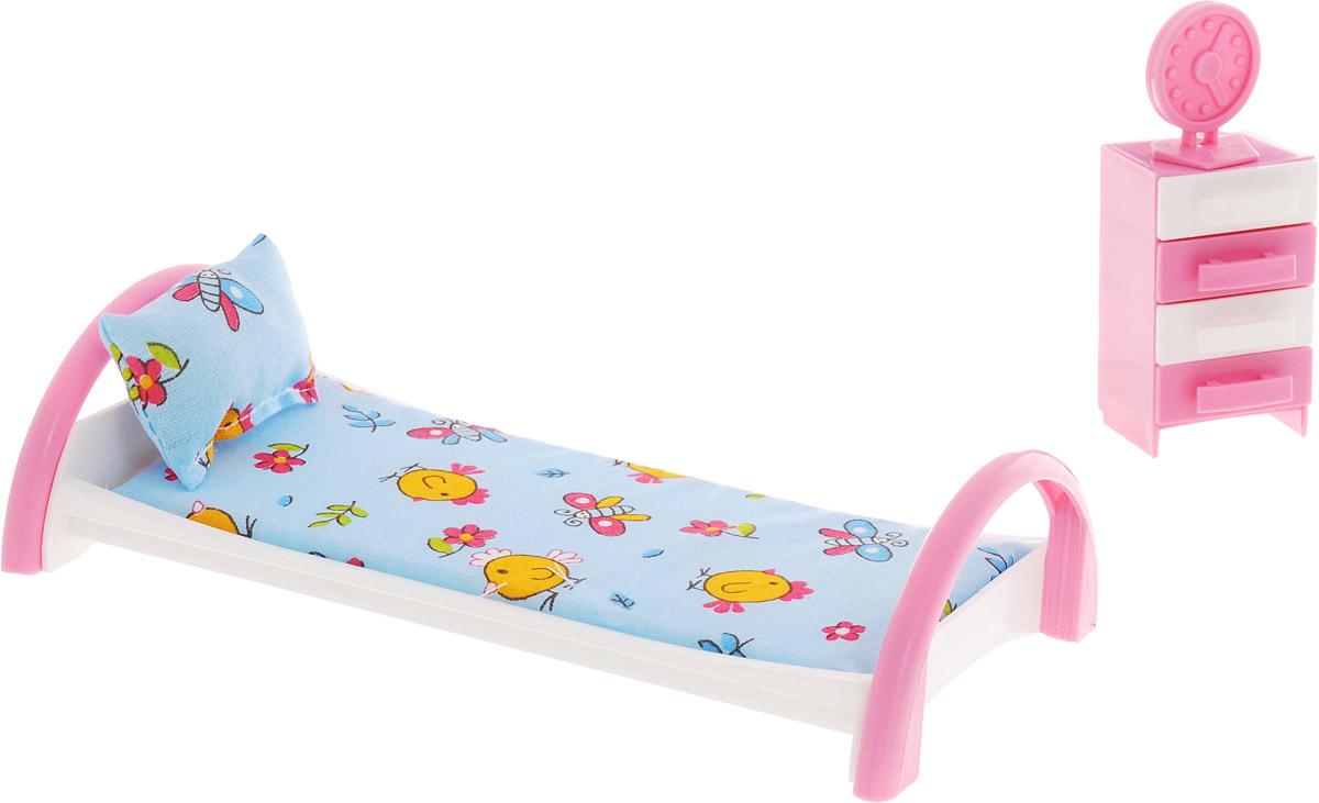 Форма Кровать с тумбочкой для кукол Цыплята цвет голубой