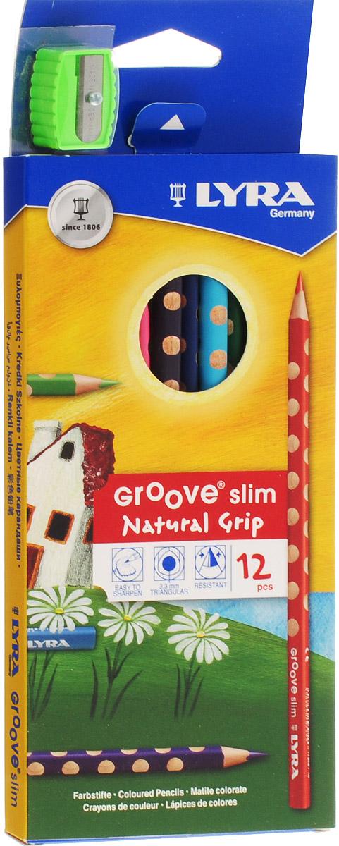 Lyra Набор цветных карандашей Groove Slim с точилкой 12 штL2821120Цветные карандаши Lyra Groove Slim понравятся вашему юному художнику. Набор включает в себя 12 ярких насыщенных цветных карандашей треугольной формы с эргономичным захватом. Карандаши идеальны для раннего развития ребенка. Карандаши изготовлены из натурального сертифицированного дерева, экологически чистые. Имеют ударопрочный неломающийся грифель, не требующий сильного нажатия, легко затачиваются.