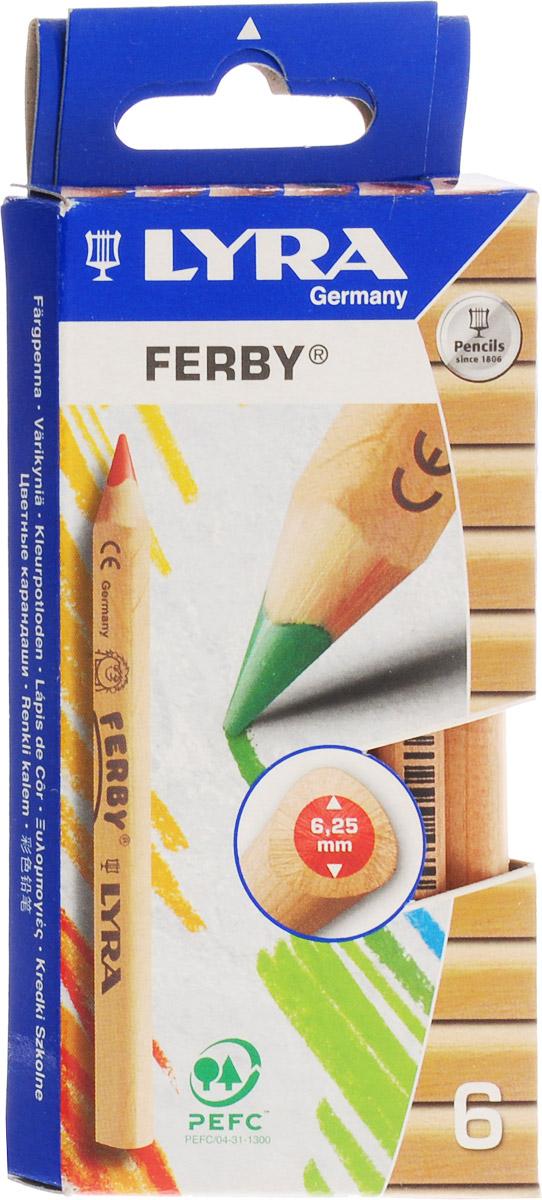 Lyra Набор цветных карандашей Ferby Nature 6 штL3611060Цветные карандаши Lyra Ferby Nature непременно понравятся вашему юному художнику. Набор включает в себя 6 ярких насыщенных цветных карандаша. Имеют эргономичную треугольную форму, которая подходит для раннего развития ребенка. Карандаши изготовлены из натурального сертифицированного нелакированного дерева. Имеют ударопрочный неломающийся высокопигментный грифель, не требующий сильного нажатия. Легко затачиваются. Порадуйте своего ребенка таким восхитительным подарком! В комплекте: 6 карандашей.