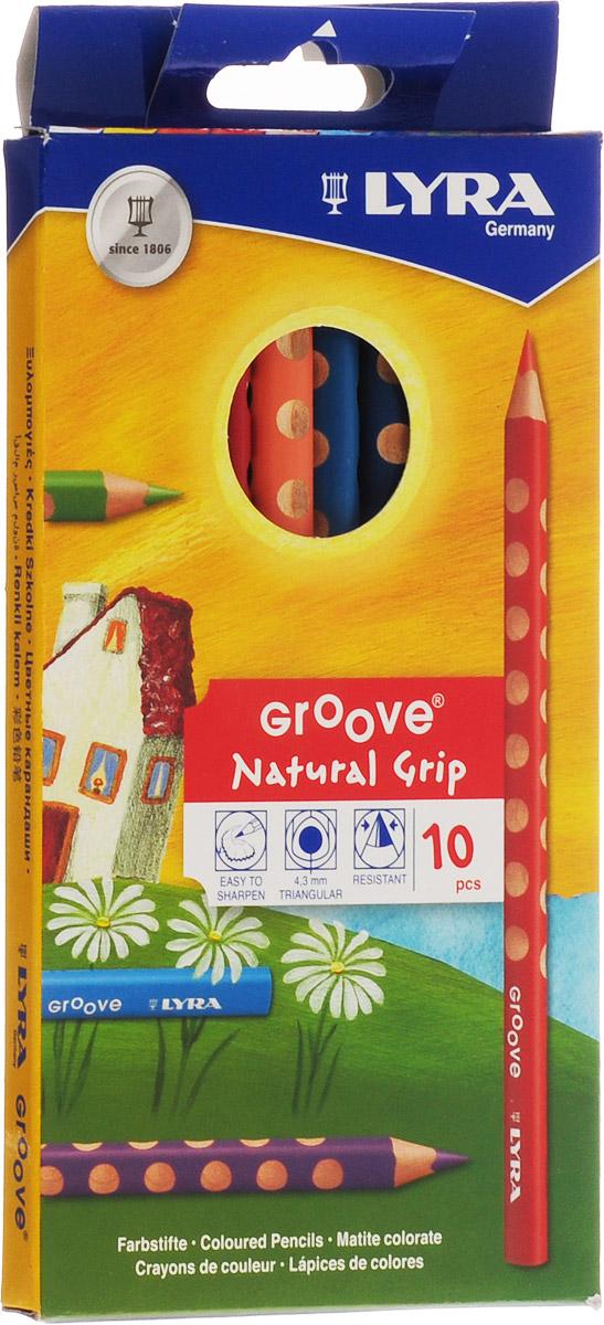 Цветные карандаши Lyra Groove, 10 цветовL3811100Цветные карандаши Lyra Groove непременно, понравятся вашему юному художнику. Набор включает в себя 10 ярких насыщенных утолщенных цветных карандаша треугольной формы с эргономичным захватом. Карандаши изготовлены из натурального сертифицированного дерева, экологически чистые. Имеют ударопрочный неломающийся высокопигментный грифель, не требующий сильного нажатия и легко затачиваются. Порадуйте своего ребенка таким восхитительным подарком! В комплекте: 10 карандашей.