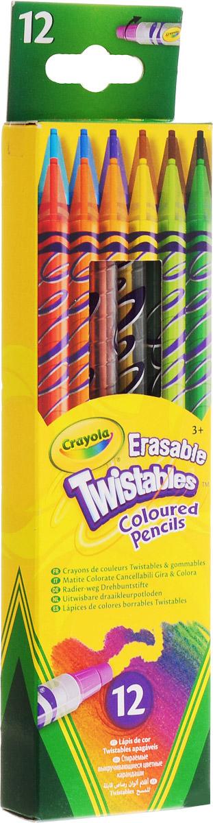 12 выкручивающихся карандашей68-7508Карандаши цветные, выкручивающиеся, оснащенные выдвигающимся стержнем. Механизм «вертушка» обеспечивает постепенное выдвигание воскового грифеля из пластикового корпуса карандаша.