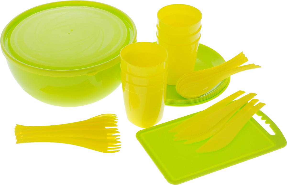 Набор для пикника Plastic repablic Краски лета, 33 предметаТДД26678Набор для пикника и барбекю Plastic repablic Краски лета предназначен на 6 персон. Изделия выполнены из высококачественного пищевого пластика. Разделочная доска пригодится для резки овощей и зелени. В объемный салатник с крышкой «Galaxy» хорошо сложить приготовленный шашлык, а столовых приборов, стаканов и тарелок хватит на целую компанию. Легкий и прочный пластик подходит для многократного использования. Набор для пикника Краски лета обеспечит полноценный отдых на природе для большой компании или семьи. В набор входят: - доска разделочная - диаметр 24 см x 15 см; - салатник - объем 4 л, диаметр 25 см, высота стенки 12,5 см; - крышка - диаметр 25 см; - 4 тарелки - диаметр 20,5 см, высота стенки 1 см; - 4 стакана - объем 400 мл, диаметр (по верхнему краю) 8 см, высота 10 см; - 4 вилки - длина 19 см; - 4 ложки - длина 19 см; - 4 ножа - длина 19 см.