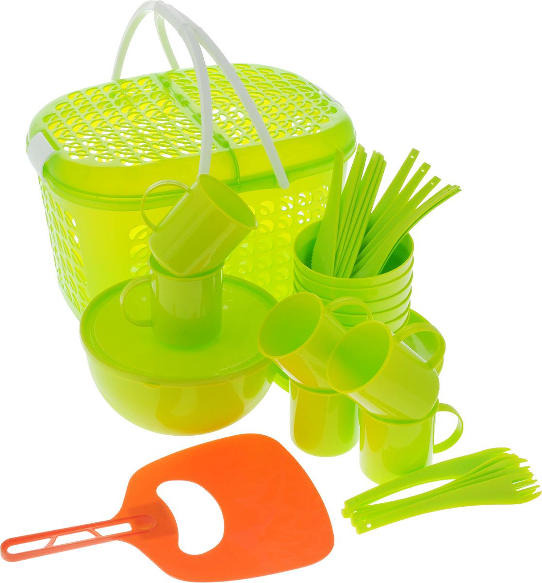 Набор для пикника Plastic repablic, 40 предметовТДД25562Набор для пикника Plastic repablic предназначен на 6 персон. Изделия выполнены из высококачественного пищевого пластика. Изделия удобно располагаются в корзине- переноске в которой можно переносить или перевозить предметы. Корзина-переноска «Galaxy» позволит вместить не только сам набор, но и еду для пикника. Набор для пикника обеспечит полноценный отдых на природе для большой компании или семьи. В набор входят: - корзина-переноска - размеры (с учетом крышки) 22 x 19 x 37 см; - салатник - объем 2,5 л, диаметр (по верхнему краю) 21 см, высота стенки 10 см; - крышка - диаметр 21 см; - 6 мисок - диаметр (по верхнему краю) 12,2 см, высота стенки 6 см; - 6 тарелок - диаметр 20,5 см, высота стенки 1 см; - 6 кружек - объем 300 мл, диаметр (по верхнему краю) 7,5 см, высота 8 см; - 6 вилок - длина 19 см; - 6 ложек - длина 19 см; - 6 ножей - длина 19 см; - веер для раздува мангала - размеры 30,5 x 20 см.