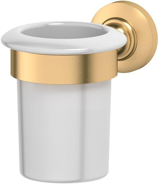 Держатель со стаканом для ванной комнаты 3SC Stilmar, цвет: матовое золото. STI 303STI 303Дизайн коллекций компании 3SC оригинален и узнаваем. Цель дизайнеров — находить равновесие между эстетикой и функциональностью. Это обдуманная четкая философия, которая проходит через все процессы производства мастерской региона Тоскана.Многолетний опыт, воплощение социальных и культурных традиций, а также постоянный поиск новых решений?– все это сконцентрировано в коллекциях 3SC. Особенное внимание уделяется декоративной отделке изделий, которая выполнена умелыми руками настоящих итальянских мастеров. Разнообразие стилей позволяет удовлетворить различные вкусы клиента от «классики» до «хай-тек», давая возможность гармонично сочетать аксессуары с зеркалами и освещением.