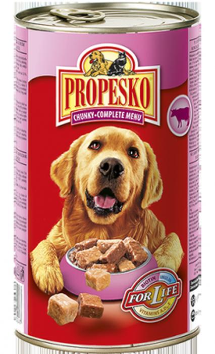 Консервы для собак Propesko, говядина курица дичь, 1,24 кг14260