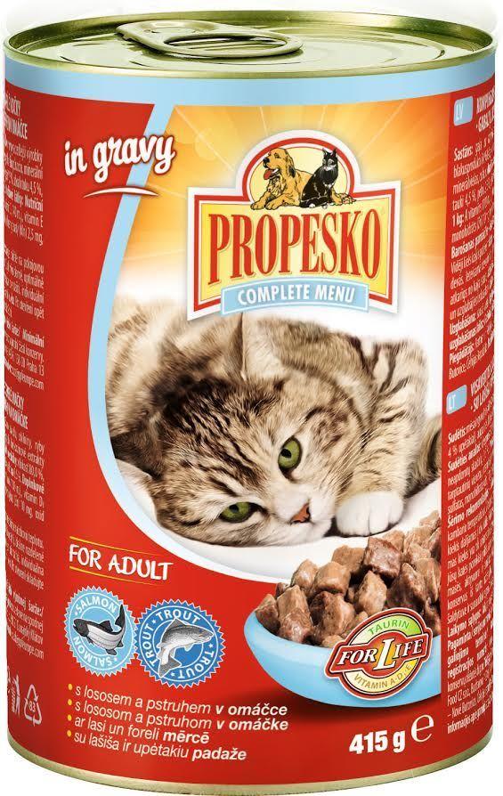 Консервы для кошек Propesko, лосось форель соус, 415 г14263