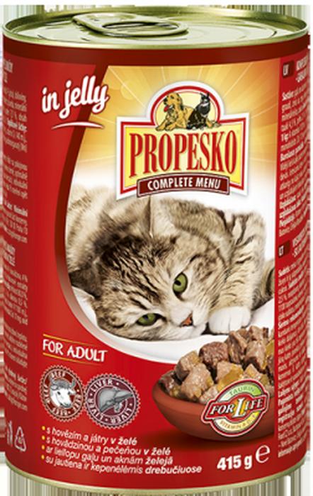Консервы для кошек Propesko, говядина печень желе, 415 г14264