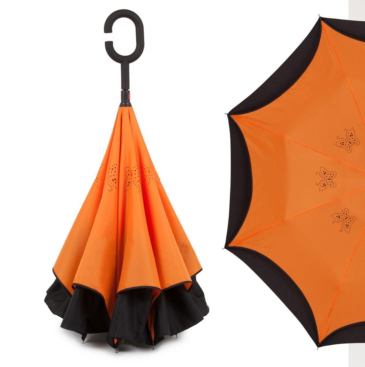 Зонт-трость женский Flioraj, механика, цвет: оранжевый. 120001 FJ120001 FJОригинальный зонт-трость Flioraj надежно защитит вас от дождя. Зонт складывается внутренней (сухой) стороной наружу, избавляя владельца от контакта с мокрой поверхностью. Приходя в незнакомое место у Вас не будет неловкого момента от того, что некуда убрать мокрый зонт - Вы сможете спокойно высушить его позже, закончив свои дела. Зонт Miracle очень удобен для автомобилистов: садясь в машину, Вы аккуратно закрываете зонт, не уронив ни одной капли воды в салоне. Удобная ручка с гипоаллергенным покрытием Soft-Touch позволяет высвободить обе руки - Вы спокойно можете пользоваться телефоном, а зонт будет надежно держаться на Вашем запястье, защищая от капризов природы. Яркая расцветка и рисунок по внутренней части зонта поднимут Вам настроение! С таким зонтом больше ничто не испортит Ваших планов!