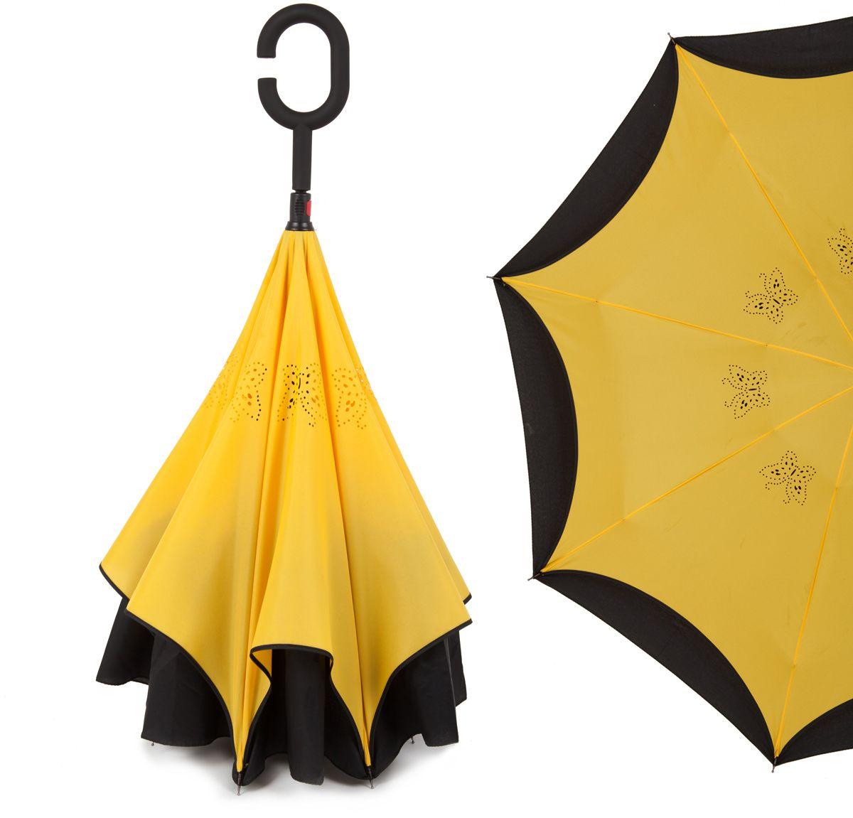 Зонт-трость женский Flioraj, механика, цвет: желтый. 120002 FJ120002 FJОригинальный зонт-трость Flioraj надежно защитит вас от дождя. Зонт складывается внутренней (сухой) стороной наружу, избавляя владельца от контакта с мокрой поверхностью. Приходя в незнакомое место у Вас не будет неловкого момента от того, что некуда убрать мокрый зонт - Вы сможете спокойно высушить его позже, закончив свои дела. Зонт Miracle очень удобен для автомобилистов: садясь в машину, Вы аккуратно закрываете зонт, не уронив ни одной капли воды в салоне. Удобная ручка с гипоаллергенным покрытием Soft-Touch позволяет высвободить обе руки - Вы спокойно можете пользоваться телефоном, а зонт будет надежно держаться на Вашем запястье, защищая от капризов природы. Яркая расцветка и рисунок по внутренней части зонта поднимут Вам настроение! С таким зонтом больше ничто не испортит Ваших планов!рисунок по внутренней части зонта поднимут Вам настроение! С таким зонтом больше ничто не испортит Ваших планов!