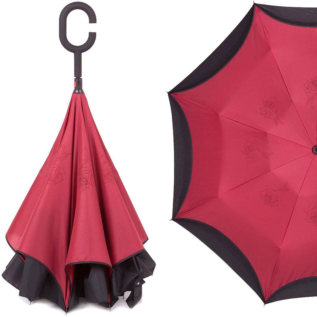 Зонт-трость женский Flioraj, механика, цвет: бордовый. 120003 FJ120003 FJОригинальный зонт-трость Flioraj надежно защитит вас от дождя. Зонт складывается внутренней (сухой) стороной наружу, избавляя владельца от контакта с мокрой поверхностью. Приходя в незнакомое место у Вас не будет неловкого момента от того, что некуда убрать мокрый зонт - Вы сможете спокойно высушить его позже, закончив свои дела. Зонт Miracle очень удобен для автомобилистов: садясь в машину, Вы аккуратно закрываете зонт, не уронив ни одной капли воды в салоне. Удобная ручка с гипоаллергенным покрытием Soft-Touch позволяет высвободить обе руки - Вы спокойно можете пользоваться телефоном, а зонт будет надежно держаться на Вашем запястье, защищая от капризов природы. Яркая расцветка и рисунок по внутренней части зонта поднимут Вам настроение! С таким зонтом больше ничто не испортит Ваших планов!