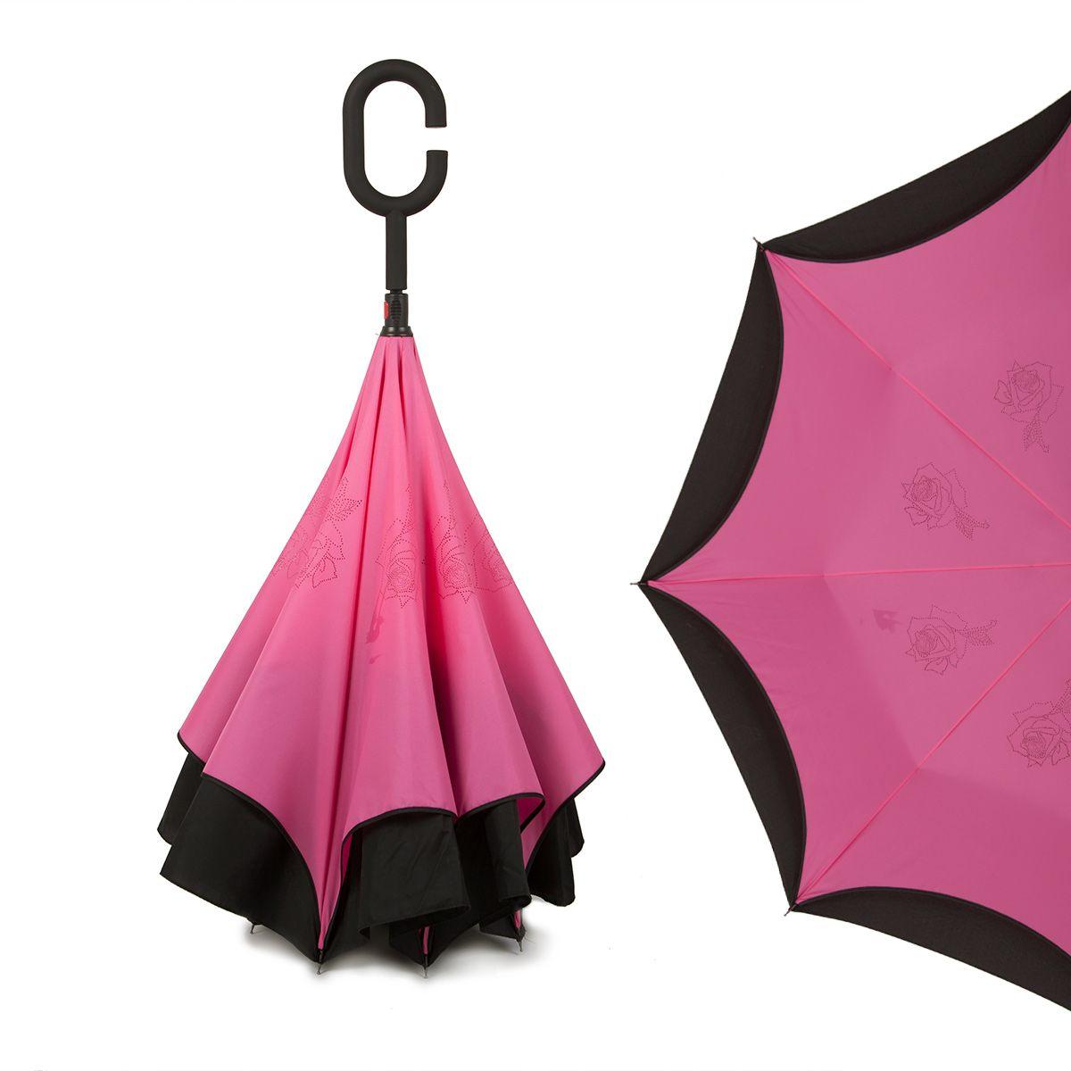 Зонт-трость женский Flioraj, механика, цвет: розовый. 120004 FJ