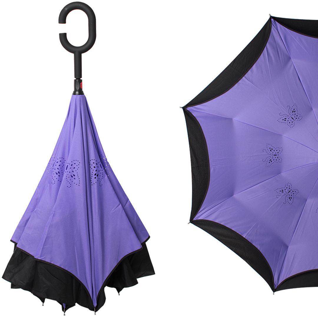 Зонт-трость женский Flioraj, механика, цвет: фиолетовый. 120005 FJ