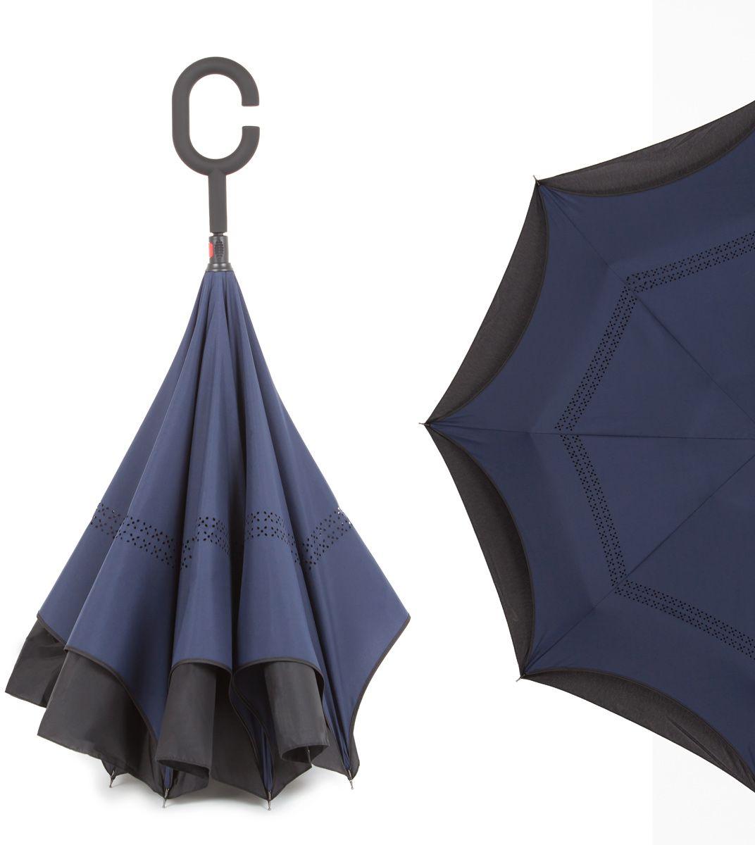 Зонт-трость женский Flioraj, механика, цвет: темно-синий. 120006 FJ
