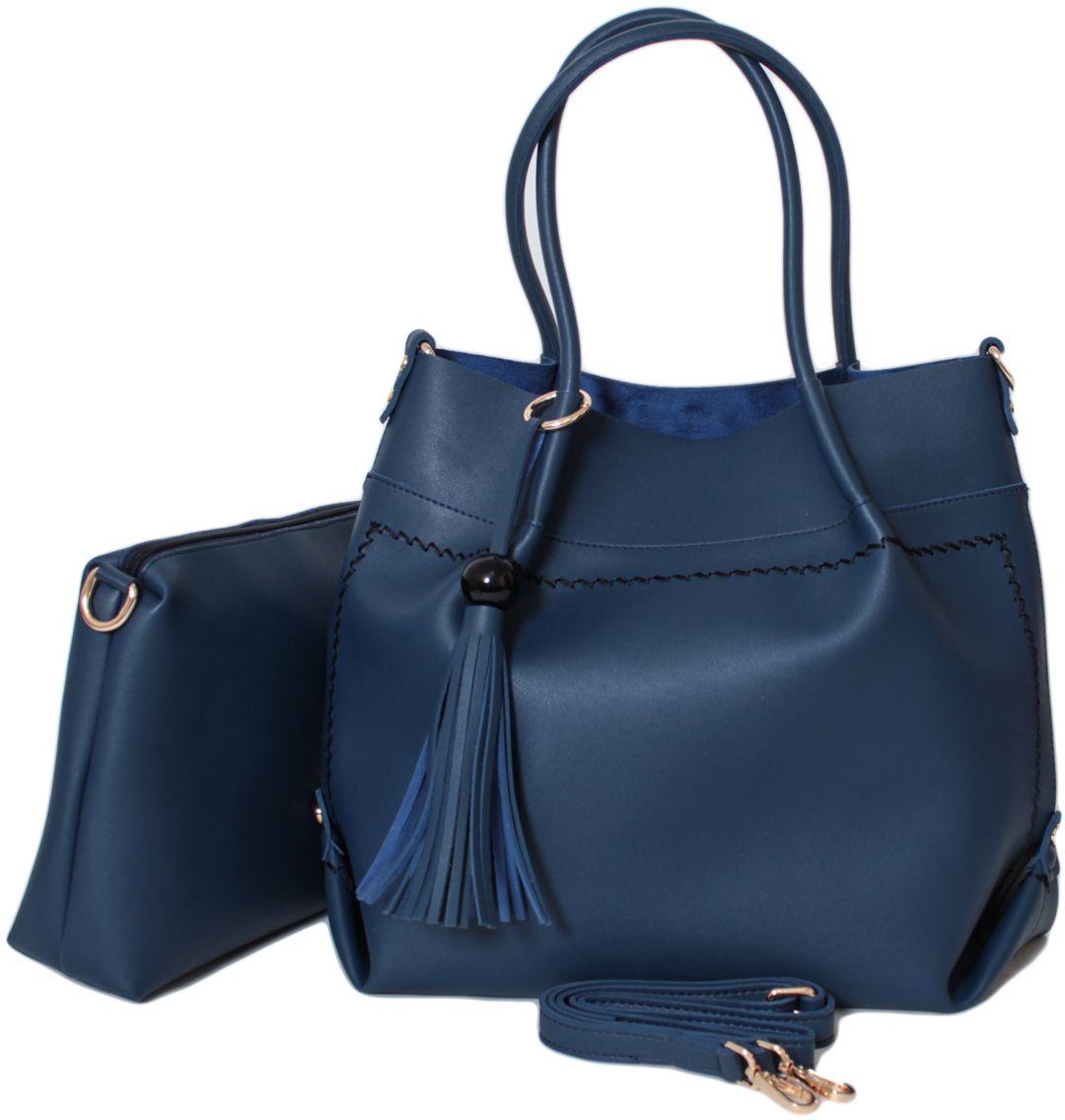 Сумка женская Flioraj, цвет: синий. 1896 blue1896 blueЗакрывается на молнию. Внутри одно отделение. В комплекте косметичка и наплечный ремень. Высота ручек 20 см.