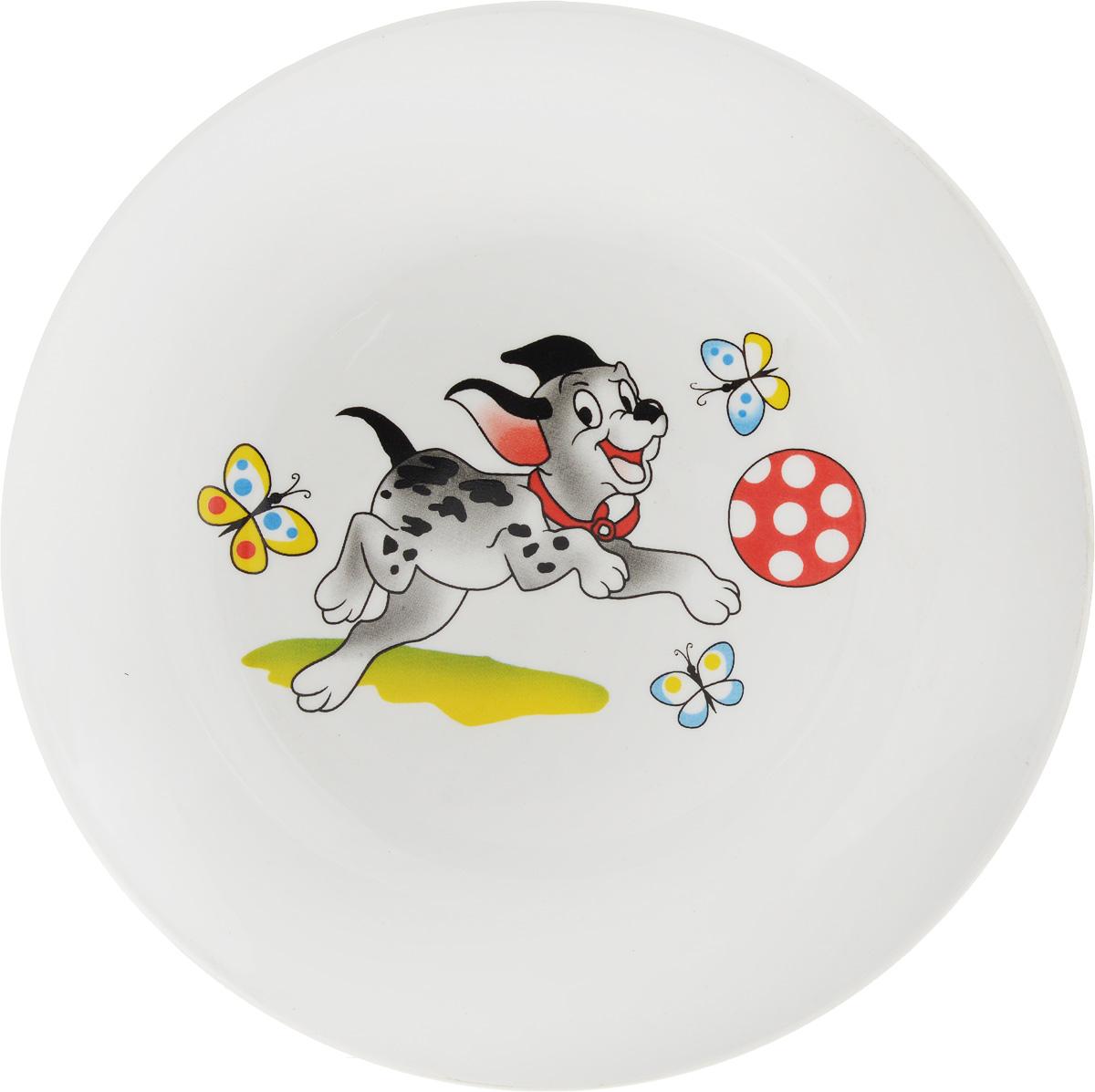 Тарелка десертная Кубаньфарфор Озорные щенки. Вид 2, диаметр 17,5 см057_Озорные щенки_вид 2Десертная тарелка Кубаньфарфор Озорные щенки. Вид 2, изготовленная из фаянса с глазурованным покрытием, декорирована изображением милого щенка. Такая тарелка украсит сервировку вашего стола и подчеркнет прекрасный вкус хозяина, а также станет отличным подарком.