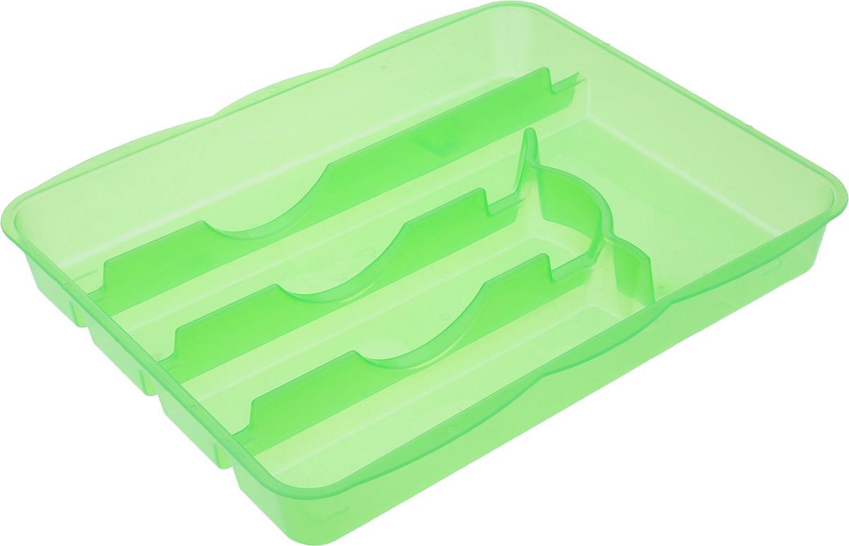 Лоток для столовых приборов Альтернатива, 5 отделенийM1067_зеленыйЛоток для столовых приборов Альтернатива изготовлен из высококачественного пищевого пластика. Он предназначен для выдвигающихся ящиков на кухне. Лоток имеет пять отделений: три отделения для вилок, ложек, ножей, одно маленькое отделение для чайных ложек и десертных вилок, одно большое отделение для остальных приборов. Размер отделений: Размер большого отделения: 30,5 х 5,5 см. Размер средних отделений: 22,5 см х 5,5 см. Размер маленького отделения: 17,5 х 8 см. Общий размер лотка: 31,5 х 25 х 4 см.