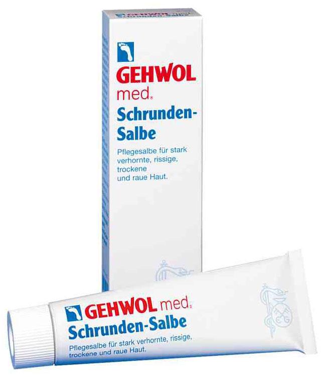 Gehwol Med Salve for cracked skin - Мазь от трещин на ногах 75 мл1*40105Мазь для ухода за сильно загрубевшей, растрескавшейся, сухой и поврежденной кожей. Геволь мед (Gehwol med) мазь от трещин (Salve for cracked skin) содержит в качестве основы специальное медицинское мыло и специально отобранную смягчающую и обладающую смягчающим эффектом комбинацию натуральных эфирных масел, витамина пантенол, ухаживающего за состоянием кожи, и противовоспалительное вещество бисаболол, получаемое из ромашки. При регулярном применении кожа приобретает естественную эластичность, стабильность и хорошо защищена. Особенно хорошо действует при шелушении кожи, покраснениях и сопутствующих неприятных осложнениях. Проверено по дерматологическим показателям. Благоприятно применение при заболевании диабетом. Активные компоненты: вазелин, ланолин, розмариновое масло, эвкалиптовое масло, лавандовое масло, лимонное масло, тимьяновое масло, бисаболол, ментол, камфара, пантенол, оксид цинка, вода.