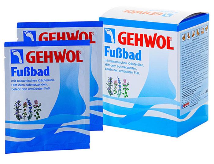Gehwol Foot Bath - Ванна для ног 10*20 гр1*24920Ванна для ног Геволь (Gehwol Foot Bath) с бальзамирующим эффектом масел из трав снимает боль, оживляет уставшие ноги. Ванна для ног Геволь поможет Вам, если Ваши ноги болят. Поможет также и вспотевшим ногам. Средство оживляет уставшие ноги и устраняет надоедливое ощущение жжения. Мозоли, ороговелости и загрубевшие участки кожи становятся мягкими. Поры кожи снова начинают дышать, она надолго останется упругой и эластичной. Ванна для ног Геволь обладает длительным дезодорирующим эффектом. Натуральные эфирные масла лаванды, розмарина и тимьяна способствуют улучшению кровообращения. Ноги согреваются и оживают. Назначение: Эффективно размягчает загрубевшую кожу, натоптыши и мозоли. Стимулирует кровообращение и придает ногам ощущение теплоты. Обладает дезодорирующим действием и нормализует потоотделение. Активные компоненты: масло розмарина, лавандовое масло, масло тимьяна, тимол, каприл глицерид, сульфат натрия, карбонат натрия, вода. Применение: Одну столовую ложку растворить в 4...