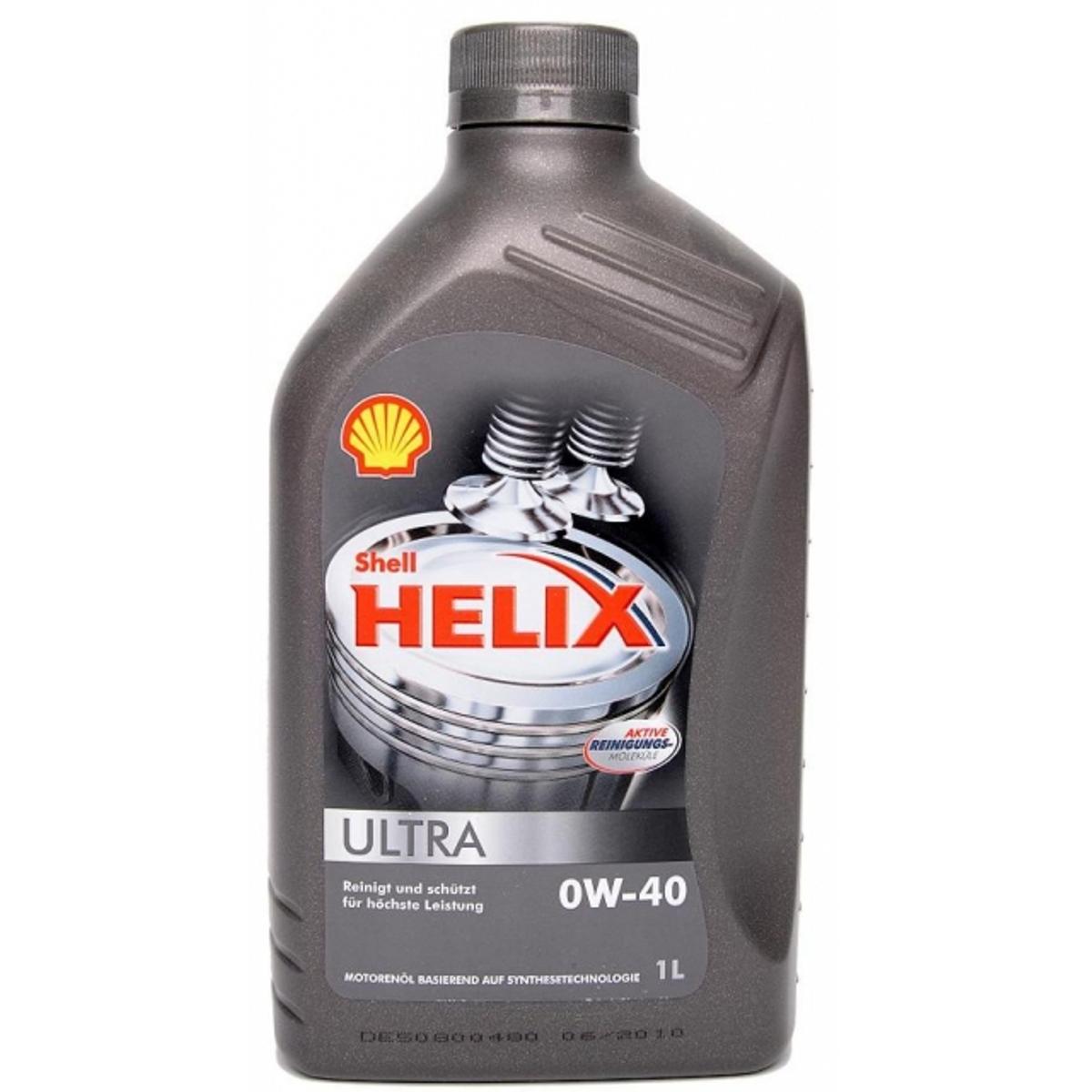 Моторное масло Shell Helix Ultra 0w40, синтетика, 1 л550040758Синтетические масло Ultra 0W-40 от «Шелл», произведенное на основе новейших технологий, подходит для современных двигателей, работающих на бензине, дизеле, газе и биотопливе. Оно обеспечивает отменную чистоту двигателя. Низкая вязкость и пониженный коэффициент трения гарантируют дополнительную экономию топлива до 1,9%. Масло Shell 0W-40 увеличивает ресурс мотора, защищая его от износа и нейтрализуя образующиеся во время сгорания топлива кислоты. Допуски и одобрения [Fiat 9.55535-Z2], MB-Approval 226.5, MB-Approval 229.5, Porsche A40, Renault RN0700, Renault RN0710, VW 502.00, VW 505.00