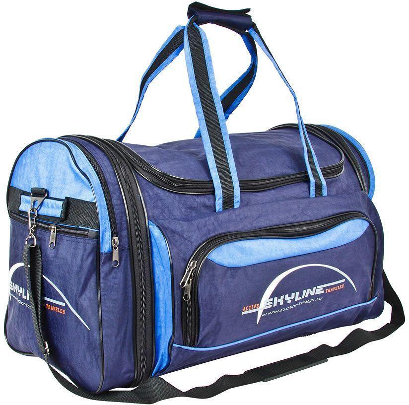 Сумка дорожная Polar Сириус, цвет: синий, голубой, 66,5 л, 35 х 56 х 34 см. 6069.16069.1Материал – полиэстер с водоотталкивающей пропиткой. Вместительная спортивная сумка среднего размера. Внутри - один отдел, два боковых кармана и карман на передней части. В комплект входит съемный плечевой ремень. Эта сумка идеально подойдет для спорта и отдыха. Спортивная сумка для ваших вещей. Сумка раздвижная ,на 5 см по бокам сумки.
