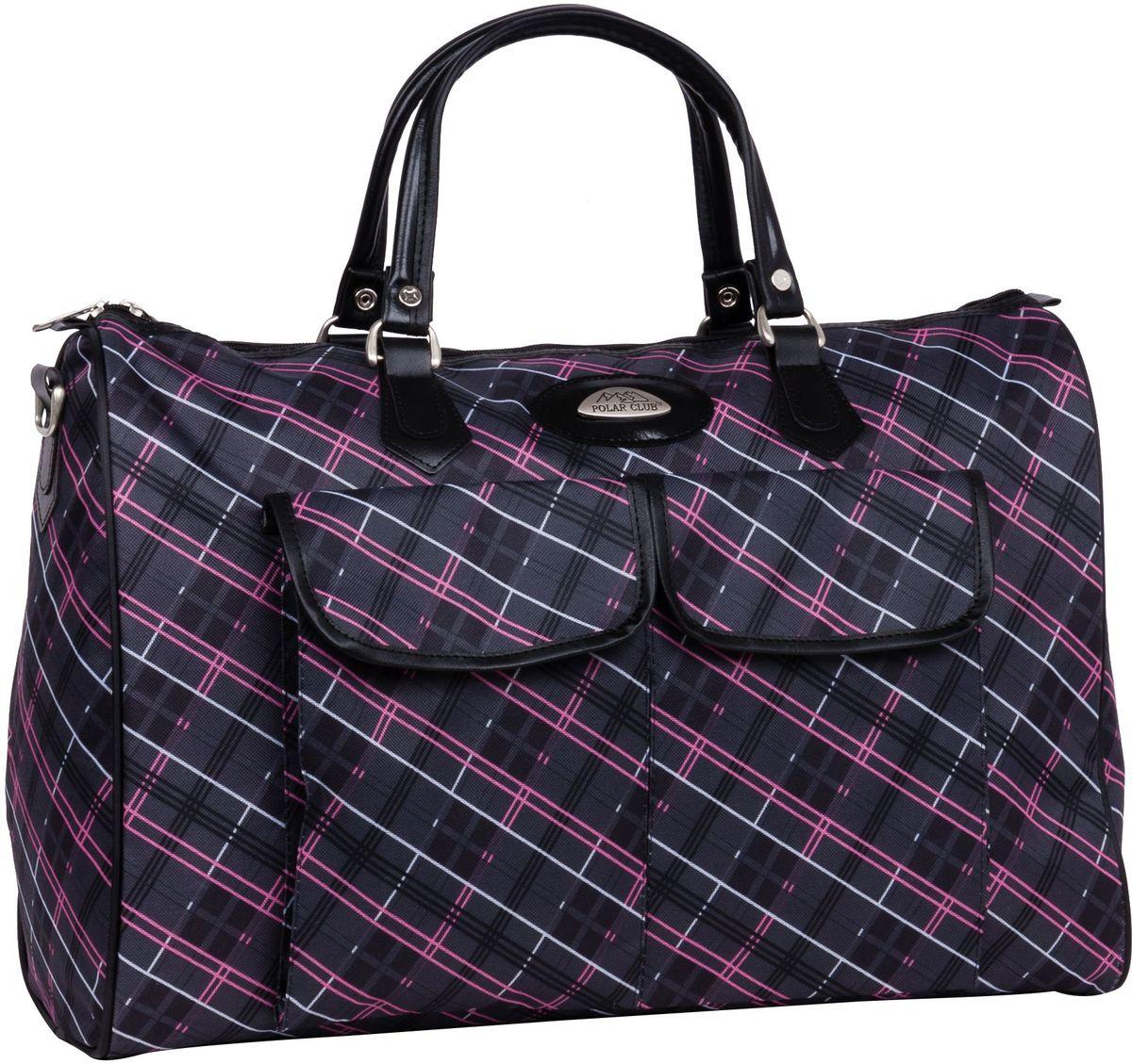 Сумка дорожная Polar Инесса, цвет: темно-серый, розовый, 35 л, 35 х 50 х 20 см. 8095-43848095-4384Вместительная недорогая дорожная сумка из полиэстера с водоотталкивающей пропиткой. Внутри дополнительный карман для документов. Снаружи - два кармана (на внешней и внутренней стороне сумки), для мелких предметов. Ручки выполнены из высокопрочного кожзаменителя. В комплект входит съемный плечевой ремень.